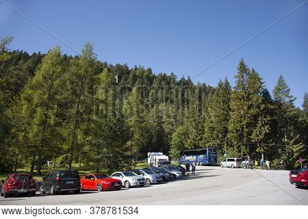 Austrian People And Foreign Travelers Stop Car In Parking For Travel Visit Viewpoint Of Blindsee Lak