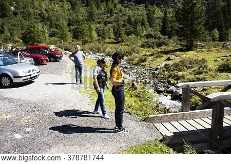 Austrian People And Foreign Travelers Stop Car In Parking At Ferner Garten Of Kaunertal Or Kaunertal