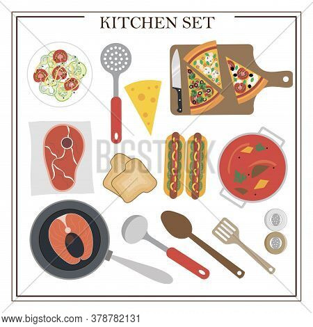 Set Of Kitchen Items And Dishes For Dinner. Vector Illustration Of A Dining Table With Soup, Hot Dog