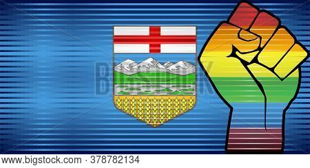 Shiny Lgbt Protest Fist On A Alberta Flag - Illustration,  Abstract Grunge Alberta Flag And Lgbt Fla