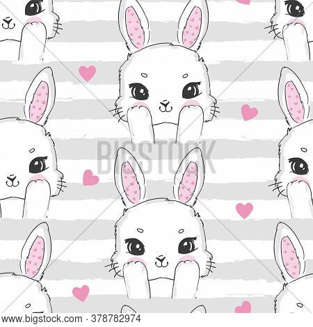 Seamless Pattern Cute Rabbit And Pink Heart. Hand Drawn Bunny, Print Design Rabbit Background. Vecto