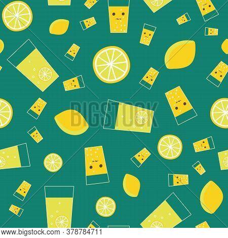 Cute Lemonade And Lemons Seamless Vector Pattern. Refreshing Summertime Drink Themed Surface Pritn D