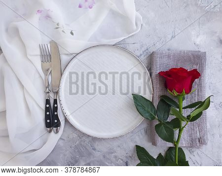Plate Flower Rose On Concrete Background Nostalgia