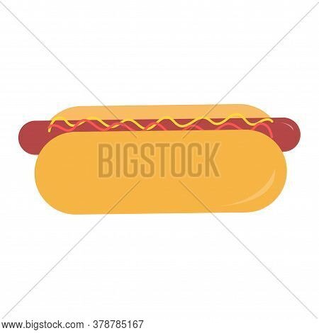 Hot Dog S In Flat Style With Mustard And Ketchup Vector Isolated Illustration