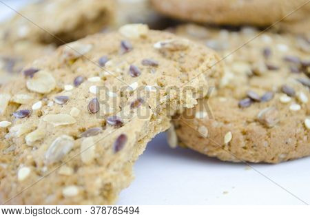 Cereal Cookies With Seeds And Nuts Close Up. Healthy Food, Gluten Free Diet