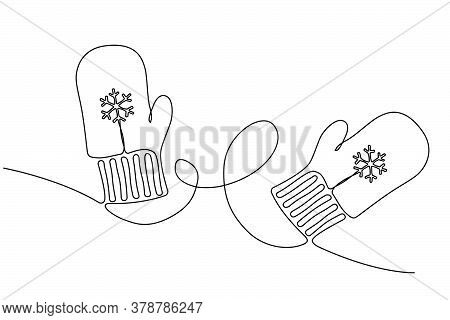 Winter Concept With Mittens Drawn One Continuous Line, Editable Strokes