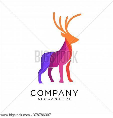 Deer Colorful Modern Logo Design Vector, Vector Logo Illustration Nature Deer Gradient Colorful Styl