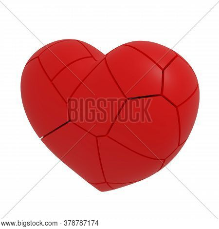 3d Illustration Of Red Fractured Heart Isolated On White Background