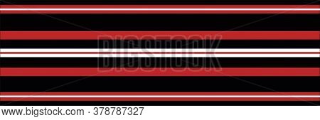 Classic Red, Black White Vector Striped Seamless Border. Banner Of Thin And Thick Stripes. Elegant L