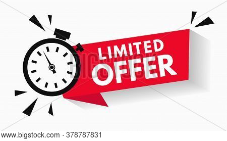 Red Limited Offer Label With Countdown Time For Sale Promo Or Exclusive Deal. Last Minute Sale Offer