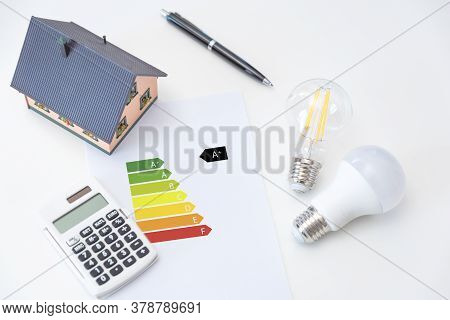 Energy Rating Chart With Light Bulbs. Energy Efficiency Concept