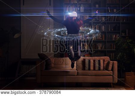 Woman Is Using Virtual Reality Headset. Elements Of This Image Furnished By Nasa. Concept Of Virtual