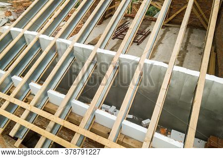 Stainless Steel Roof Structure For Future Roof Under Construction. Development Of Metal Roofing Fram