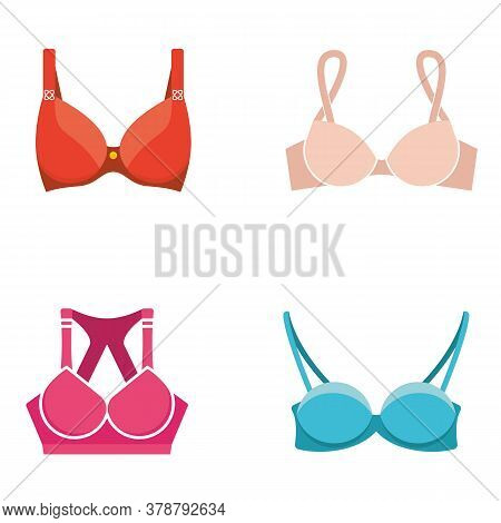 Bra Set. Stylish Lingerie, Women Colorful Underwear And Nightclothes Isolated On White. Flat Style V