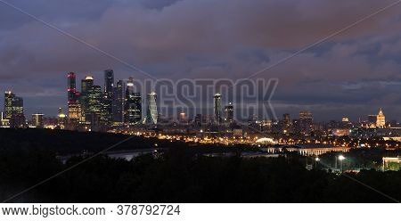 Moscow City Skyscraper And Skyline Architecture, Moscow International Business Financial Office With