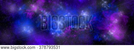 Space Background With Stardust And Shining Stars. Realistic Cosmos And Color Nebula. Planet And Milk