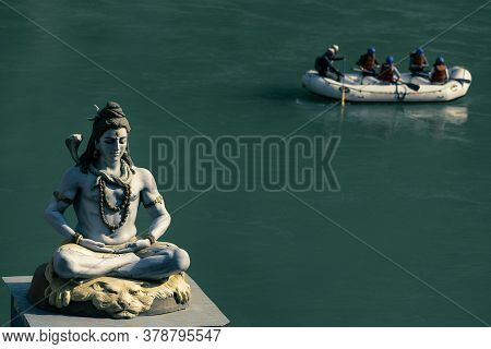 Statue Of Lord Shiva Mahadeva In Front Of River Ganga In India