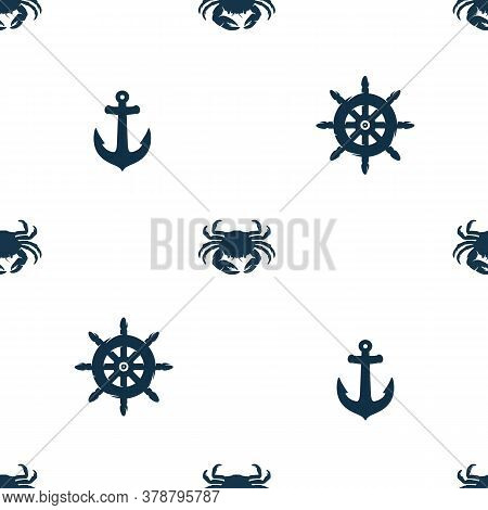 Pattern Of Marine Oceanic Crab, Helm And Anchor