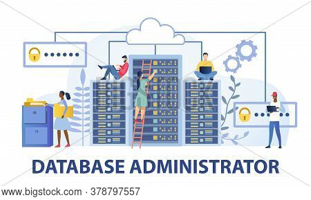 Data Base Administrator Computing Concept Showing Technicians Working On Large Stacked Servers Or Do