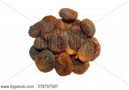 Pile Of Sun Dried Apricots Isolated On The White Background ,top View. Dark Dried Apricots