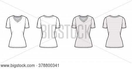 V-neck Jersey T-shirt Technical Fashion Illustration With Short Sleeves, Tunic Length. Flat Sweater