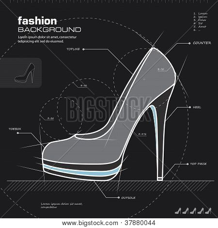 Woman Shoes Design. Vector.