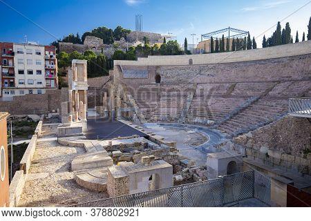 Cartagena, Spain - November 17, 2017: Roman Amphitheater In Cartagena, Region Murcia, Spain