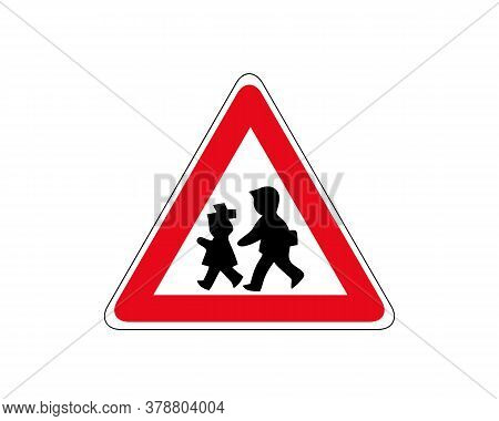 Pedestrian Danger Sign - Red Triangle Safety Traffic Sign Isolated On White Background
