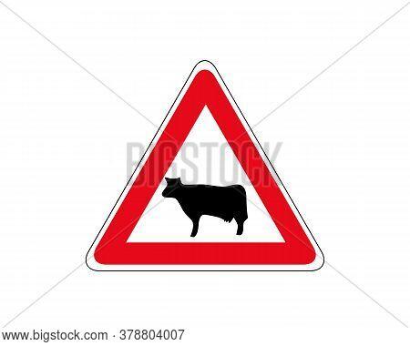 Cattle Crossing Warning Road Sign. Vector Illustration Of Cow Caution Traffic Sign. Farm Hazzard Att