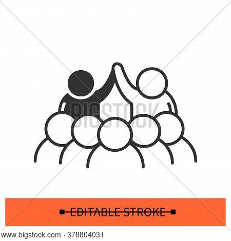 Black Lives Mater Icon. Anti-racism Social Movement Group Demonstration Linear Pictogram. Concept Of