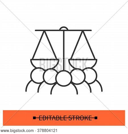 Justice Protest Icon. People Under Scales Linear Pictogram. Concept Of Civil Rights Movement, Discri