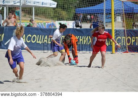 Odessa, Ukraine-july 25, 2020: Beach Soccer Championship Among Amateur Women On Beach. Soccer In San