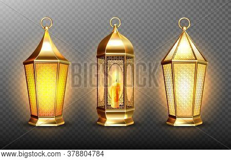 Vintage Gold Arabic Lanterns With Glowing Candles. Vector Realistic Set Of Hanging Luminous Lamps Wi