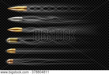 Flying Bullets With Smoke Traces From Gun Shot. Vector Realistic Set Of Bullets Different Calibers F
