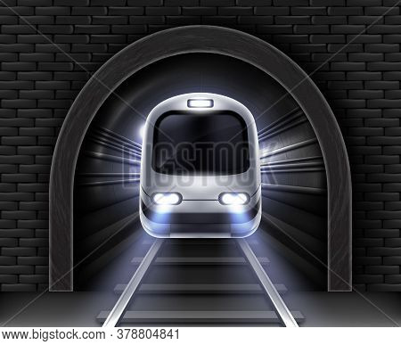 Modern Subway Train In Tunnel. Vector Realistic Illustration Of Front Wagon Of Passenger Speed Train