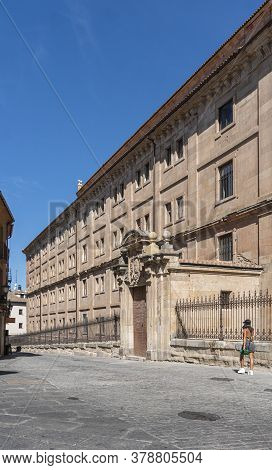 Salamanca, Spain, July 2020 - Facade Of The Faculty Of Health Services Building  In The City Of Sala