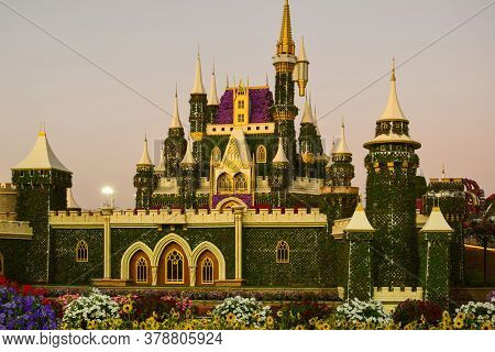 Composition Of A Fairy-tale Palace Made Of Plants. Miracle Garden. Dubai. Emirates. November 2019
