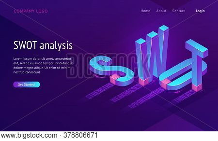Swot Isometric Landing Page With Abbreviation Of Words Analysis, Strengths, Weaknesses, Opportunitie