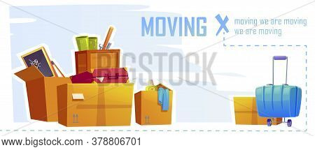 House Moving Banner With Illustration Of Cardboard Boxes And Suitcase. Vector Cartoon Background Wit
