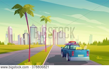 Summer Travel By Car. Vector Cartoon Illustration Of Auto With Luggage On Road To Tropical City With