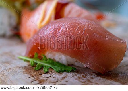 Japanese Food, Sashimi Nigiri Made From Rice With Raw Tuna Fish Close Up