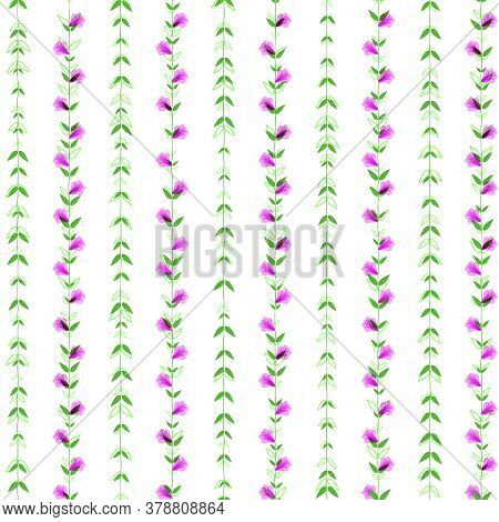 Seamless Pattern. Climbing Pink Plants With Flowers And Green Leaves On A White Background. Wavy, Cu