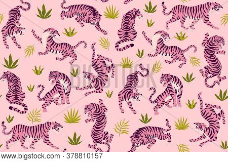 Pink Tigers And Tropical Leaves. Vector Seamless Pattern With Cute Tigers On Background. Fashionable