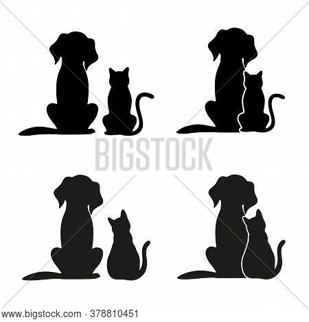Set Of Silhouettes Of Dogs And Cats On A White Background