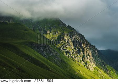 Beautiful Summer Landscape High In The Mountains. The Concept Of Relaxation In The Mountains And Pas