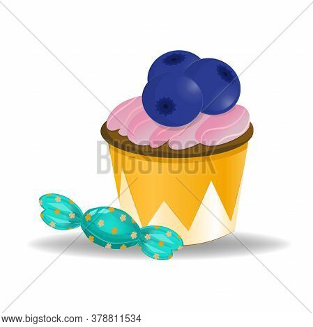 Cupcake With Blueberries And Candy Isolated On White Background. Illustration In Cartoon Style. Cupc