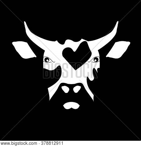 Bull Head Monochrome Sketch. Art Design Element Hand Drawn Flat Design Art Design Stock Vector Illus