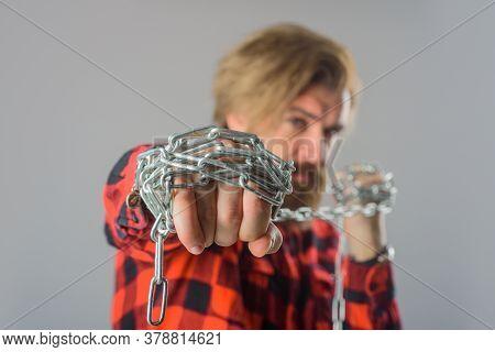 Metal Chain. Man With Metal Chain. Bearded Man With Chain. Slave. Serious Bearded Man With Metal Cha