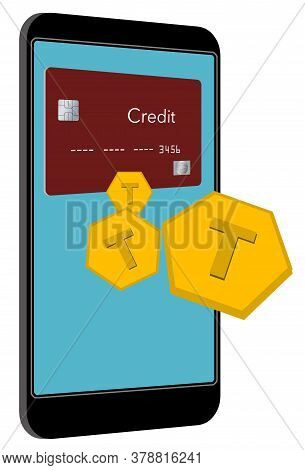 A Virtual Credit Card Is Seen On A Phone Screen As Token Float Off The Screen To Pay For A Transacti
