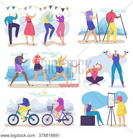 Active Senior Old People Vector Illustration Set. Cartoon Flat Group Of Elderly Characters Walking,
